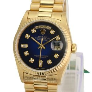 Rolex Day-date 18K Gold Blue Diamond Dial 36mm